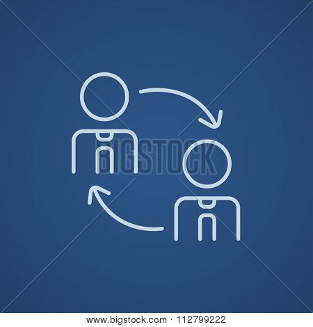 Staff turnover line icon for web, mobile and infographics. Vector light blue icon isolated on blue background.