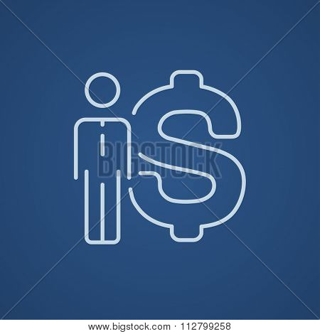 Businessman standing beside the dollar symbol line icon for web, mobile and infographics. Vector light blue icon isolated on blue background.