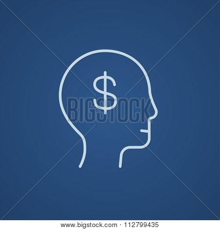 Head with dollar symbol line icon for web, mobile and infographics. Vector light blue icon isolated on blue background.