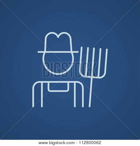 Farmer with pitchfork line icon for web, mobile and infographics. Vector light blue icon isolated on blue background.