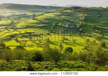 View Over Llangedwyn Valley With Fields And Meadows