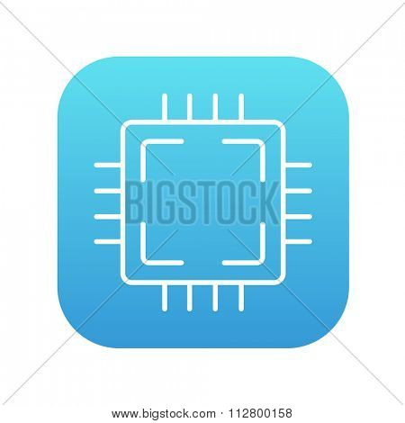 CPU line icon for web, mobile and infographics. Vector white icon on the blue gradient square with rounded corners isolated on white background.