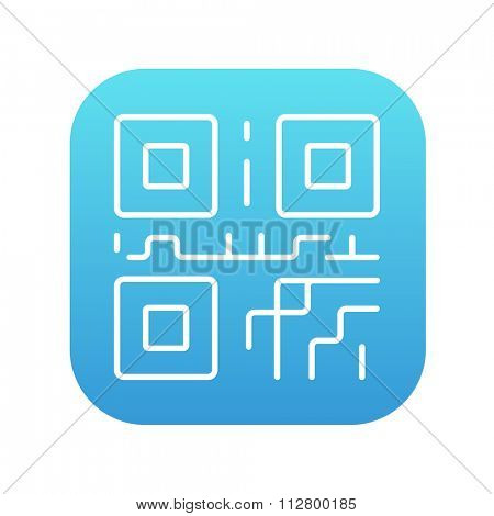 QR code line icon for web, mobile and infographics. Vector white icon on the blue gradient square with rounded corners isolated on white background.