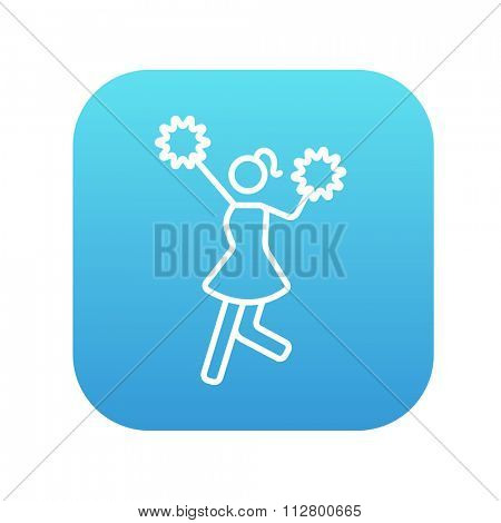 Cheerleader line icon for web, mobile and infographics. Vector white icon on the blue gradient square with rounded corners isolated on white background.