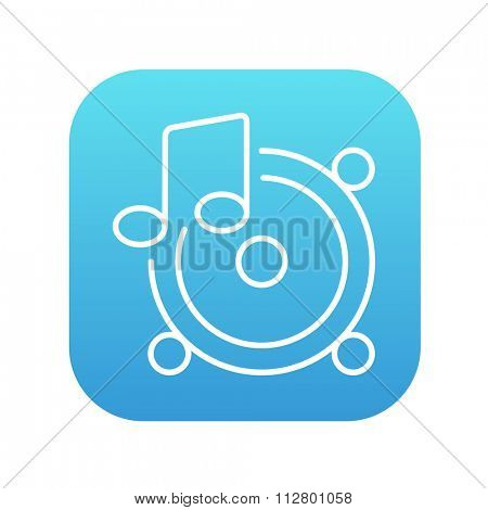 Loudspeakers with music note line icon for web, mobile and infographics. Vector white icon on the blue gradient square with rounded corners isolated on white background.
