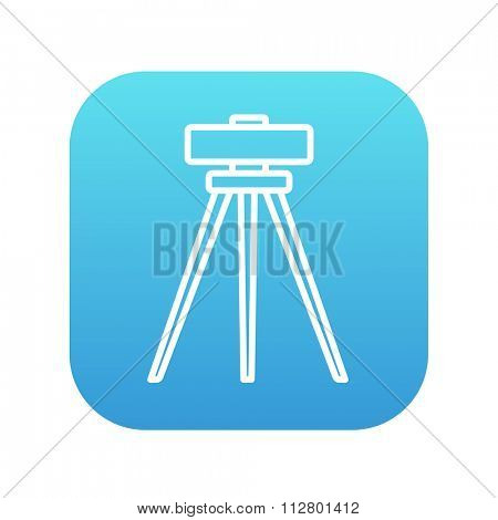 Theodolite on tripod line icon for web, mobile and infographics. Vector white icon on the blue gradient square with rounded corners isolated on white background.