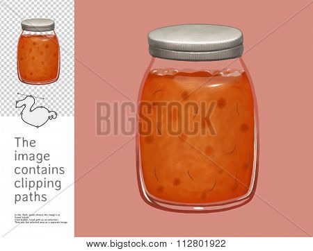 The illustration of jam in the glass jar.  A part of Dodo collection - a set of educational cards for children. The image has clipping paths and you can cut the image from the background.