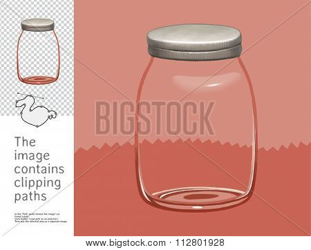 The illustration of the empty glass jar.  A part of Dodo collection - a set of educational cards for children. The image has clipping paths and you can cut the image from the background.