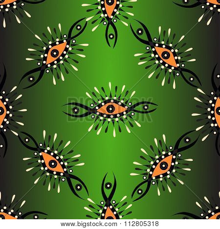 Abstract Seamless Vector Pattern On A Green Background With Backlight