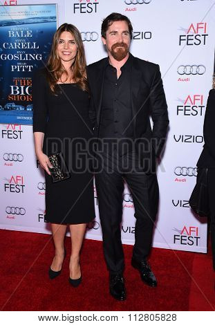 LOS ANGELES - NOV 12:  Christian Bale & Sibi Bale arrives to the AFI Fest 2015 Closing Gala 'The Big Short' World Premiere  on November 12, 2015 in Hollywood, CA.