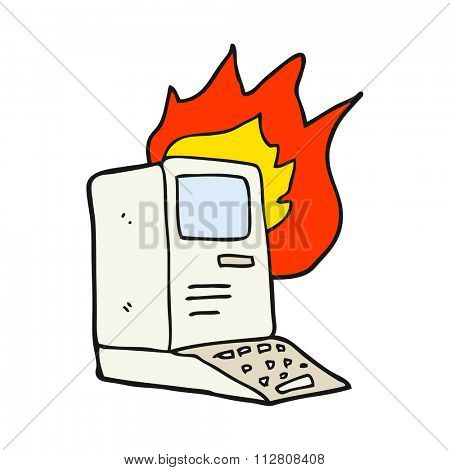 freehand drawn cartoon old computer on fire