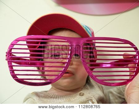 Little Baby Girl Toddler In The Big Funny Glasses