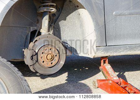 Front Disk Brake Assembly On A Modern Car