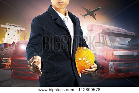Working Man And Container Truck ,ship In Port And Freight Cargo Plane In Transport And Import-export