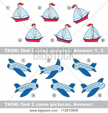Visual Game. Find Hidden Couple Of Boat And Plane