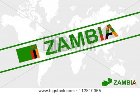 Zambia Map Flag And Text Illustration