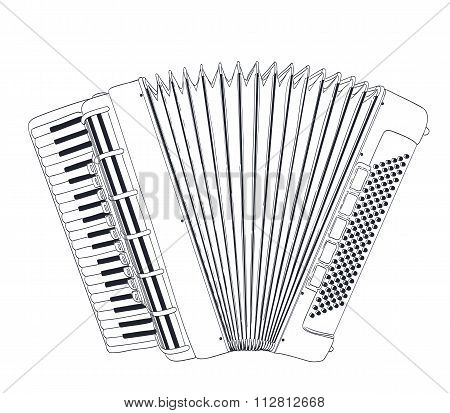 Accordion Drawing On White