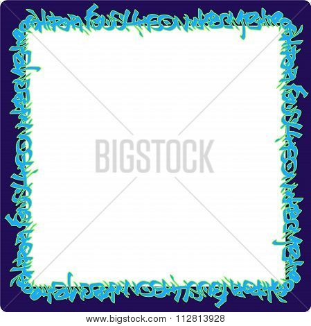 Square Rounded Frame Blue Neon Graffiti Tags On Purple