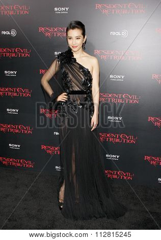 LOS ANGELES, CALIFORNIA - September 12, 2012. Li Bingbing at the Los Angeles premiere of 'Resident Evil: Retribution' held at the Regal Cinemas L.A. Live, Los Angeles.