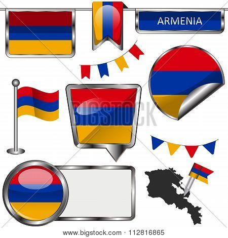 Glossy Icons With Flag Of Armenia