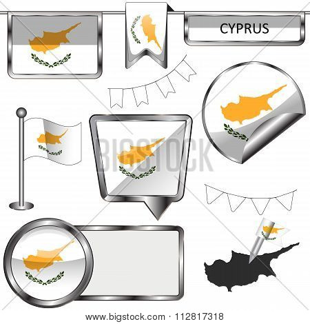 Glossy Icons With Flag Of Cyprus