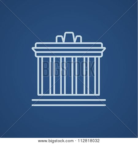 Acropolis of Athens line icon for web, mobile and infographics. Vector light blue icon isolated on blue background.