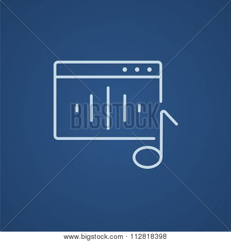 Radio line icon for web, mobile and infographics. Vector light blue icon isolated on blue background.