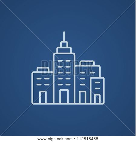 Residential buildings line icon for web, mobile and infographics. Vector light blue icon isolated on blue background.