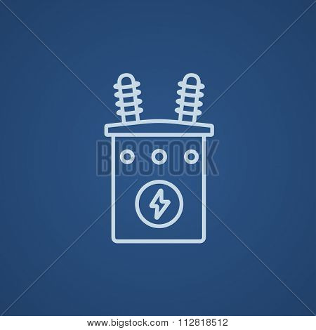 High voltage transformer line icon for web, mobile and infographics. Vector light blue icon isolated on blue background.