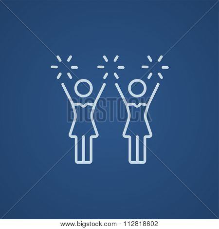 Cheerleaders line icon for web, mobile and infographics. Vector light blue icon isolated on blue background.