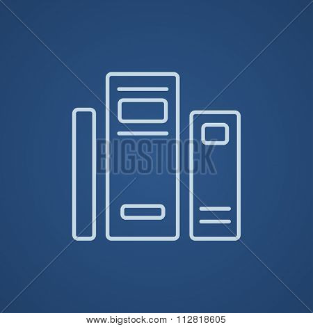 Books line icon for web, mobile and infographics. Vector light blue icon isolated on blue background.