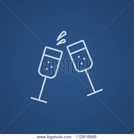 Two glasses of champaign line icon for web, mobile and infographics. Vector light blue icon isolated on blue background.