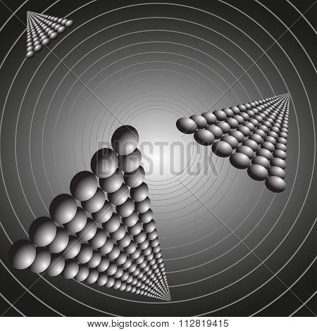 Abstract flying pyramid