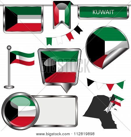 Glossy Icons With Flag Of Kuwait