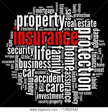Insurance in word collage