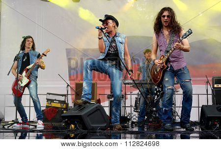 St. Petersburg, Russia - August 11, 2013: Concert band cover Harley Davidson