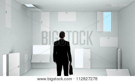 Businessman in room choosing one of plenty of doors