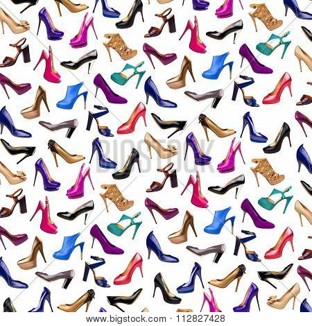 Multicolored Female Shoes Background