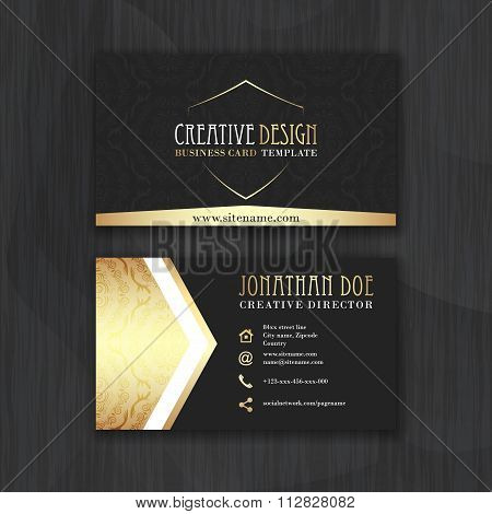 Gold and black horizontal business card template.