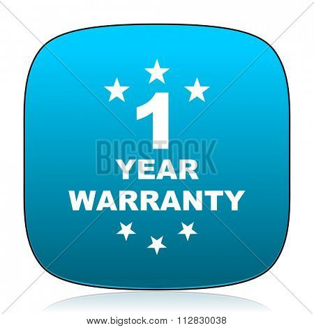 warranty guarantee 1 year blue icon