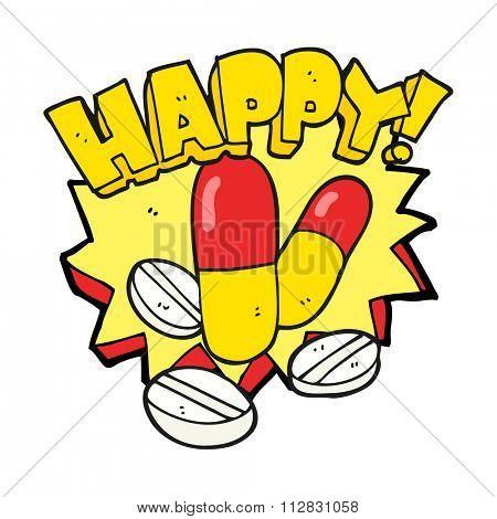 freehand drawn cartoon happy pills