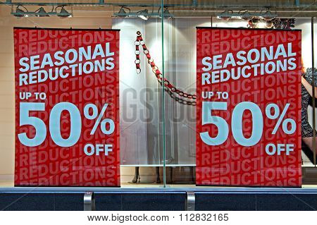 Shop Window Display In The Post Christmas Sales
