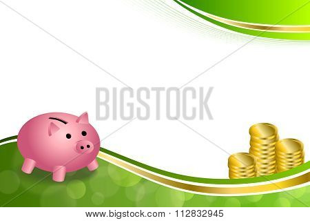 Background abstract green gold pink pig moneybox money coin frame illustration vector