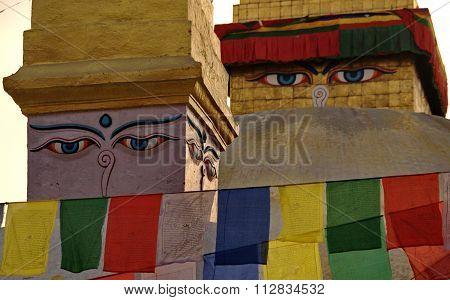 Buddha's Eyes In Katmandu