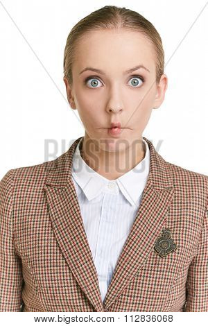 Young woman looking at camera with silly expression