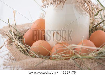 Bottle of milk and eggs in straw nest.