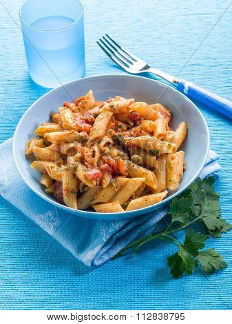 pasta with anchovies capers and tomatoes