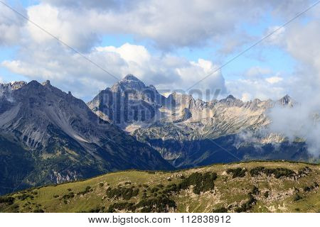 Panorama with Mountain Hochvogel in the Allgau Alps