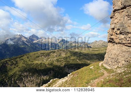 Footpath and mountain panorama in the Allgau Alps