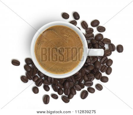 coffee cup viewed from above, with coffee beans